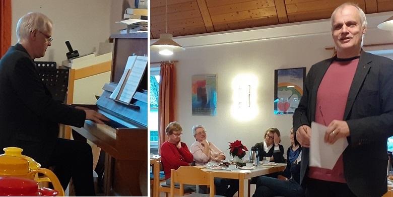 Pfarrer Wolfgang Blöcker u.a. am Klavier (links)